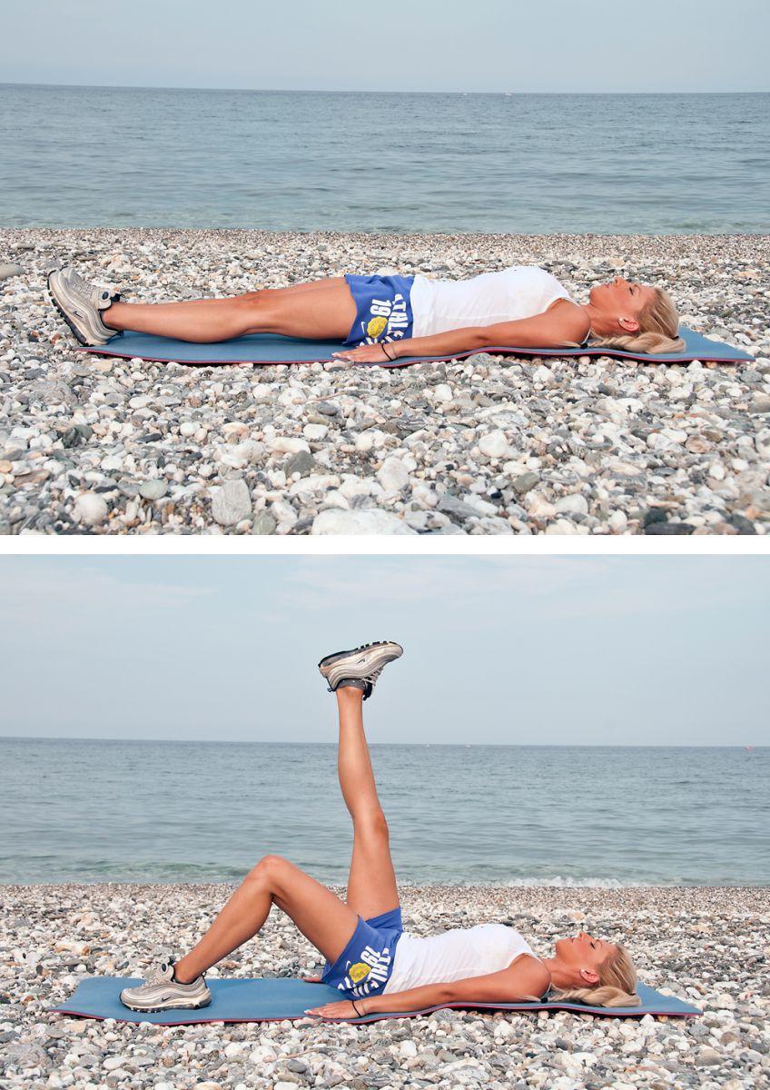 Ξεκινήστε από ύπτια θέση .Σε αυτή την άσκηση σηκώστε το κάθε πόδι εναλλάξ  και μείνετε για 5 δευτερόλεπτα ψηλά και στη συνέχεια κατεβάζετε αργά. Αν υπάρχει μεγάλο πρόβλημα σηκώνετε το πόδι με λυγισμένο γόνατο. Επαναλαμβάνετε 10 φορές.