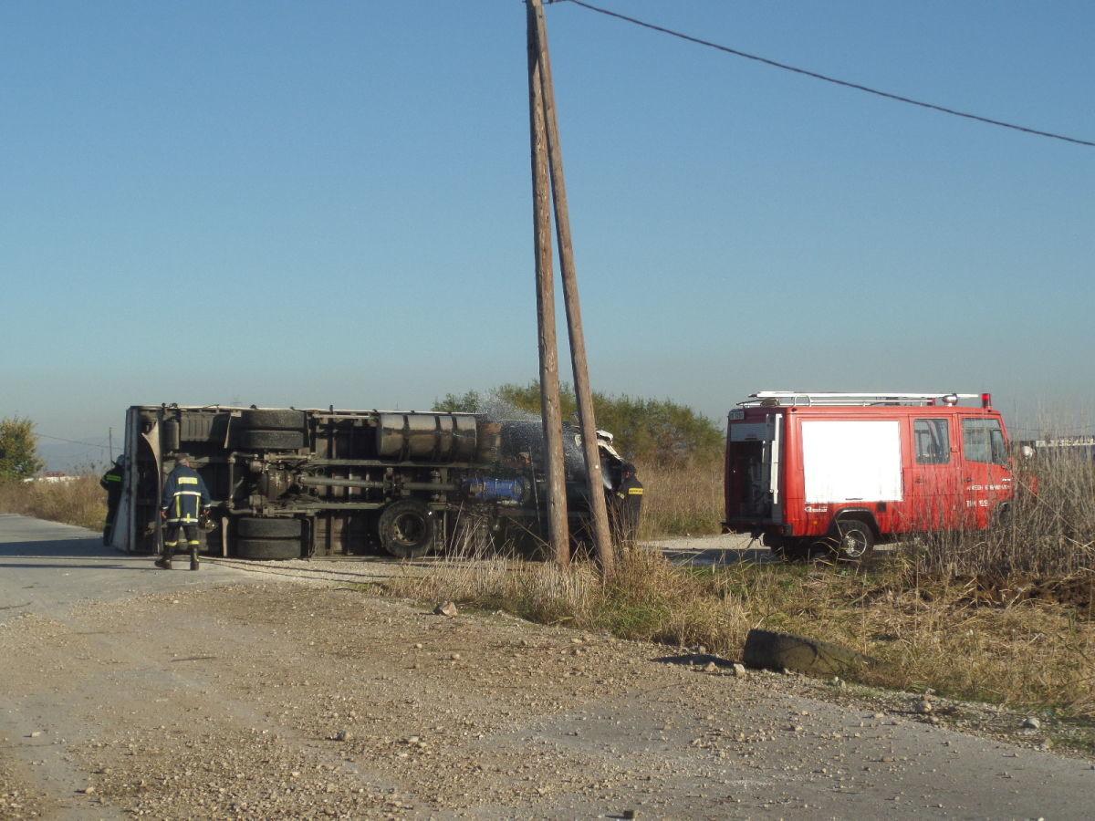 Εκτροπή φορτηγού στο δρόμο Λάρισας – Φαρσάλων
