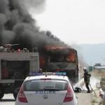 Στις φλόγες τουριστικό λεωφορείο στην Εγνατία Οδό