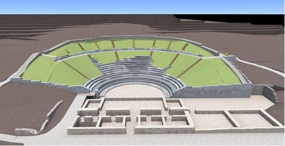 Τρισδιάστατη απεικόνιση αρχαίου Θεάτρου Φθιωτίδων Θηβών