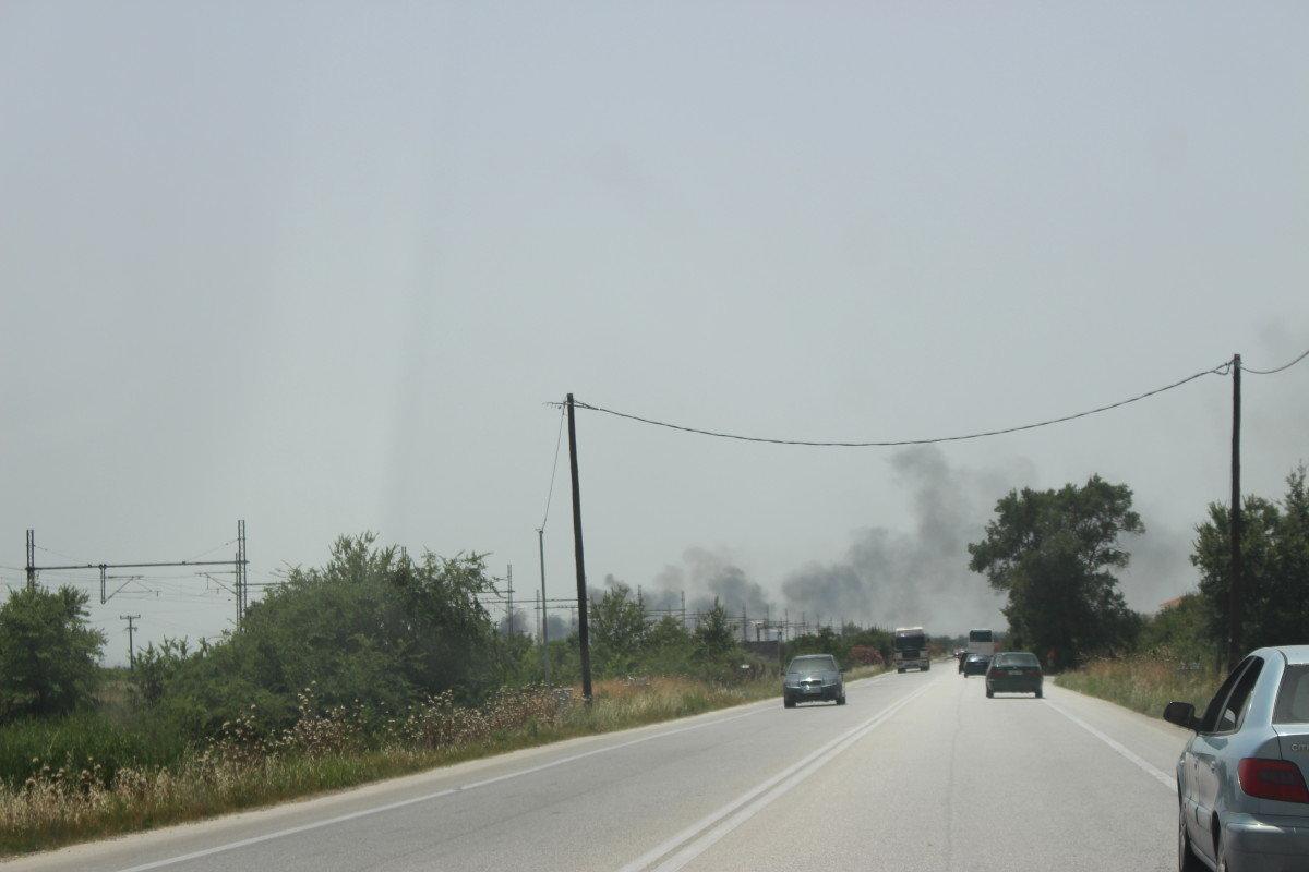 Φωτιά σε καλαμιές στον περιφερειακό της Λάρισας