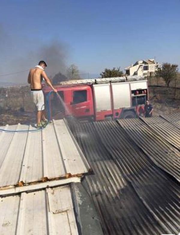 Μέχρι τις αυλές των σπιτιών έφτασαν οι φλόγες από φωτιά σε καλαμιές στην Τερψιθέα Λάρισας
