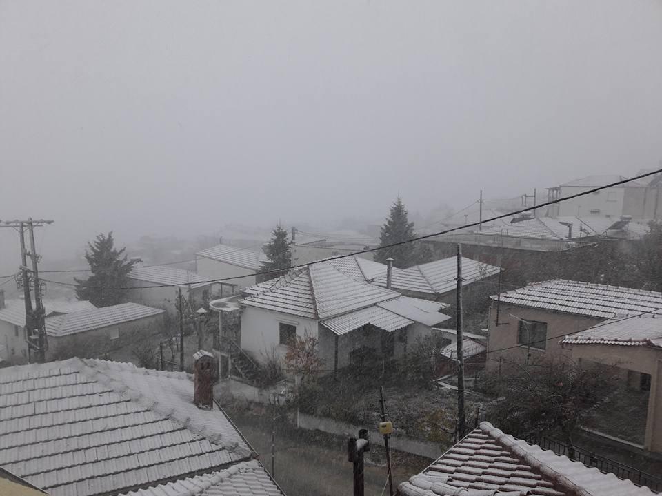 Χιονίζει σε Σαραντάπορο και Λιβάδι (φωτο + βιντεο)