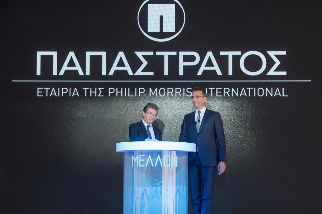 Ο Ανδρέας Καλαντζόπουλος (Διευθύνων Σύμβουλος της PMI) και o Χρήστος Χαρπαντίδης (Πρόεδρος και Διευθύνων Σύμβουλος της Παπαστράτος) εγκαινιάζουν τη νέα εποχή της Παπαστράτος