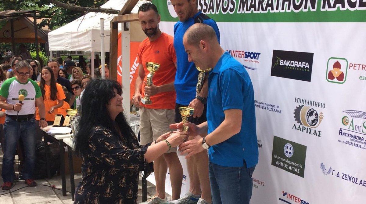 Στην τελετή λήξης του 2ου Ορεινού Αγώνα Κισσάβου η Άννα Βαγενά