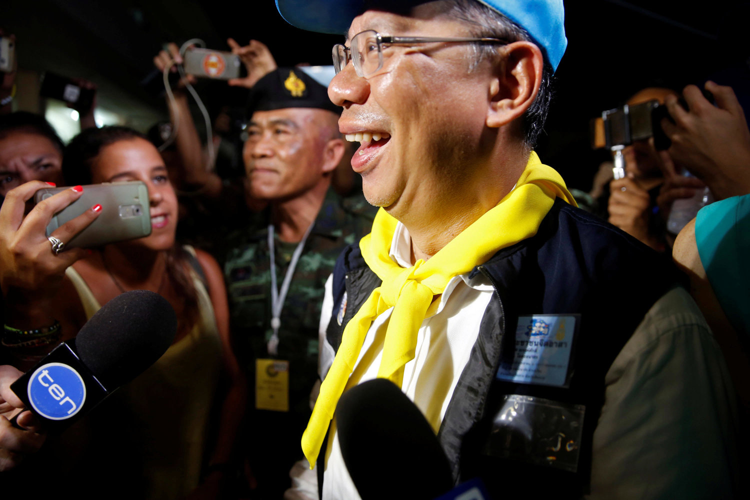 Acting Chiang Rai province governor Narongsak Osatanakorn talks to journalists after a news conference near Tham Luang cave complex in the northern province of Chiang Rai