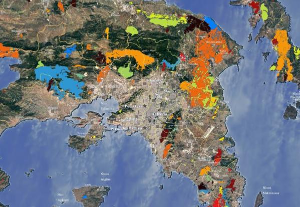 Διαδραστικός χάρτης που ραγίζει καρδιές: Οι καμένες εκτάσεις πανελλαδικά από το 1984