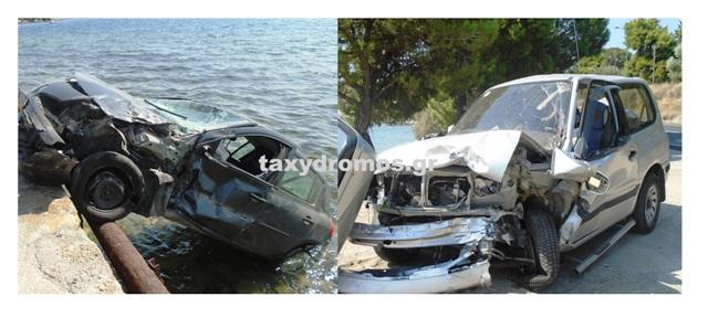 Τροχαίο στην Αγριά – Αυτοκίνητο έπεσε στη θάλασσα