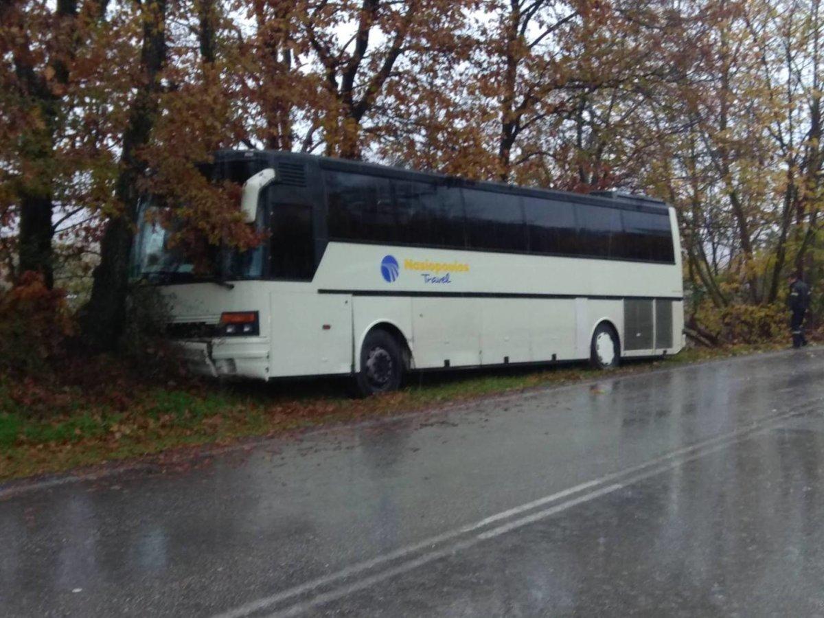 Εκτροπή λεωφορείου με μαθητές έξω απ' την Καλαμπάκα