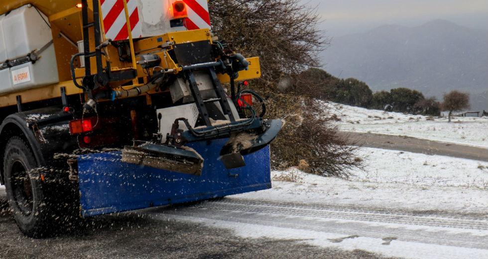 Χιονισμένο τοπίο στην Καλιπεύκη Ολύμπου. Φωτ. Eurokinissi/Λεωνίδας Τζέκας